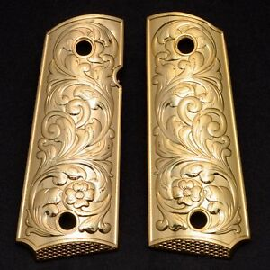 Details about 1911 Grips PISTOL GRIPS Colt Full Size Government Gold Plated  1911 Commander