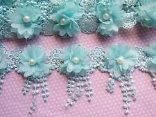1y Flower Chiffon Lace Edge Trim Pearl Wedding Applique DIY Sewing Crafts-Mint