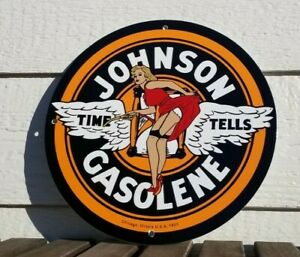 VINTAGE JOHNSON GASOLINE PORCELAIN GAS MOTOR OIL SERVICE STATION PUMP PLATE SIGN