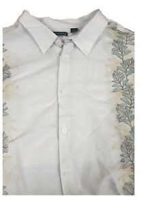 Cubavera-White-Striped-Guayabera-Short-Sleeve-Linen-Shirt-XLT-Big-amp-Tall
