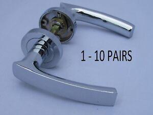 1 X SET INTERNAL DOOR HANDLE CHROME SILVER VICTORIAN TWIST HANDLES D15