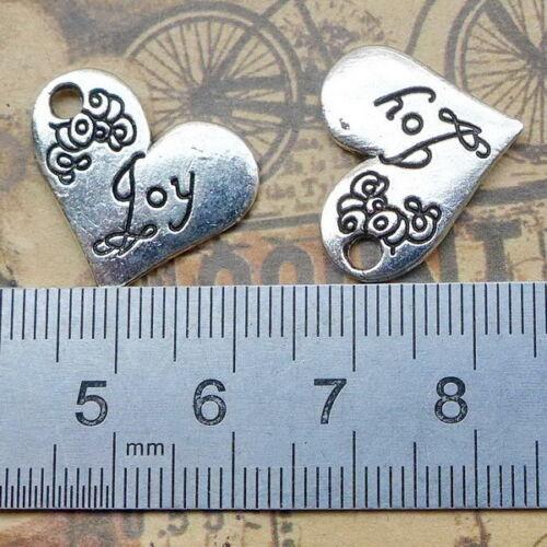 10pcs Heart Charms JOY Words Tibetan Silver Beads Pendant DIY 20*21mm