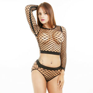 15357279cf7 Women Ladies Long Sleeve See Through Mesh Fishnet Crop Top T-Shirt + ...
