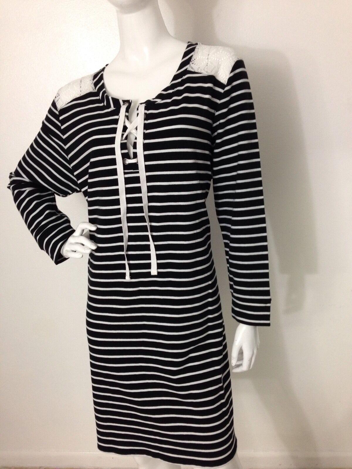 Woherren New Plus American Rag Cie Classic schwarz Striped Lace-Up Dress 3X NWT