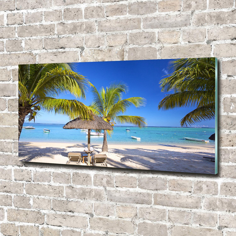 Glas-Bild Wandbilder Druck auf Glas 140x70 Deko Landschaften Mauritius Strand