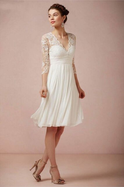 Elegant Knee Length Lace V Neck Wedding Dress Simple Short Garden Bridal Gown