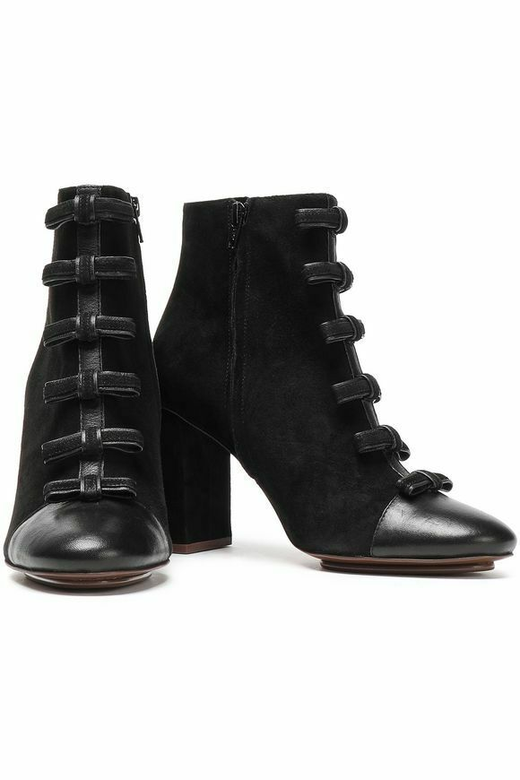 SEE BY CHLOÉ Gisele bow-embellished suede ankle Stiefel brand new Größe 39