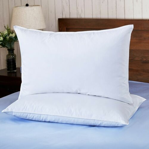 2 Set Feather Down Bed Pillows for Side Sleepers Firm Support Pillow King Pillow