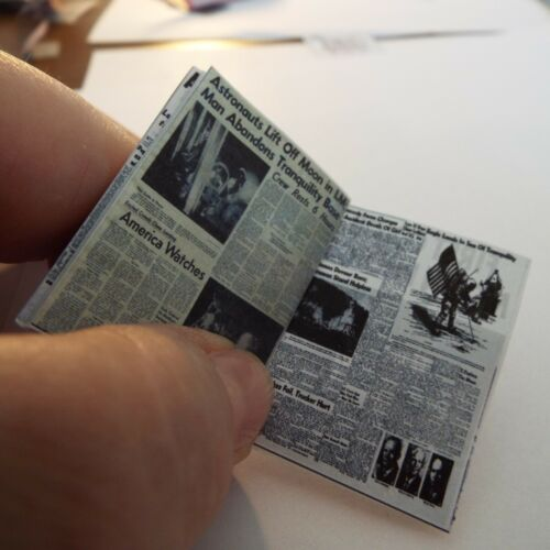 Dollhouse 1:12 scale Miniature OPENING   /'Moon Landing/'  Newspapers 1969