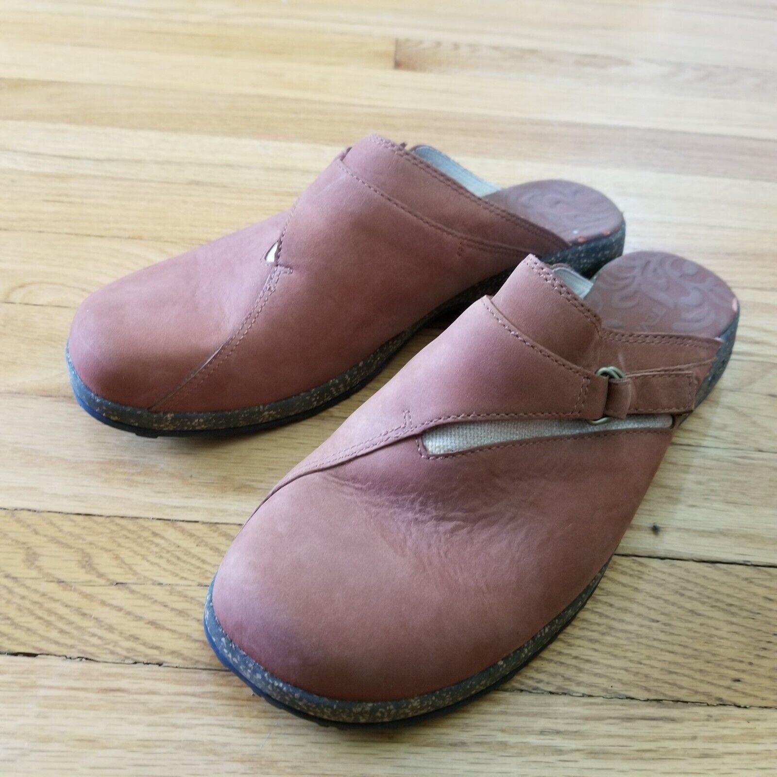 Teva Shoes Clogs Slides Women Leather Brown US 10 / EU 41