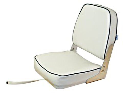 LINDEMANN Classic Foldable Helm Seat bluee with White Piping