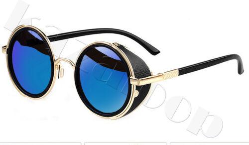 Verspiegelte Linse Runde Brille Cyber-Brillen Steampunk Sonnenbrille Retro