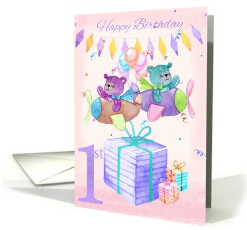1st Birthday Card Twins Watercolour Teddy Bears