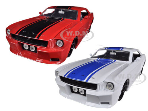 1965 FORD MUSTANG  RED & WHITE 2 CARS SET 1 24 BY JADA 96895 SET