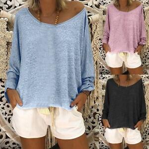 Femmes-Manches-Longues-Coton-Chemisier-Hauts-Ras-Cou-en-Vrac-T-shirt-Loose