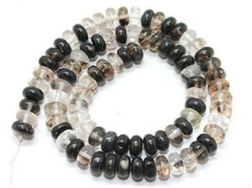 "5x8mm Black Watermelon Quartz Gemstone Loose Beads Roundel 15/""HK1056"