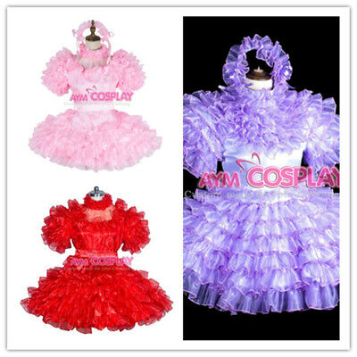 lockable Sissy baby boy satin-Organza mini dress Tailor-made