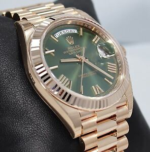 Details About Rolex President 40mm Day Date 228235 18k Rose Gold Green Roman Dial Watch Unworn