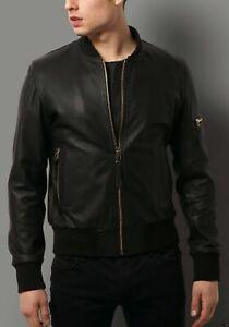 Men Genuine Lambskin Leather Motorcycle Slim fit Jacket Bomber Biker Jacket