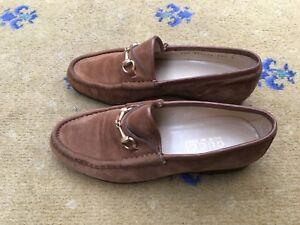 74556753494 Gucci Womens Tan Brown Suede Horsebit Loafers UK 2.5 US 4.5 EU 35.5 ...