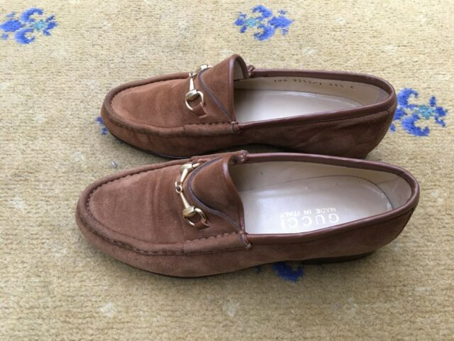 3716039debb Gucci Womens Tan Brown Suede Horsebit Loafers UK 2.5 US 4.5 EU 35.5 Ladies  for sale online
