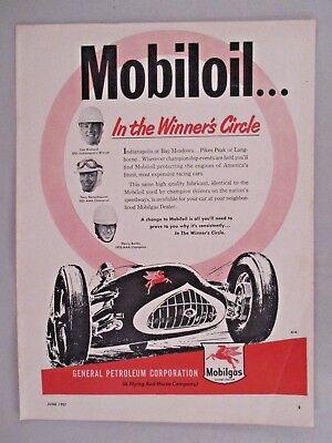 1952 ~~ Lee Wallard Mobiloil Mobil Oil Print Ad Tony Bettenhausen,henry Banks Buy One Get One Free