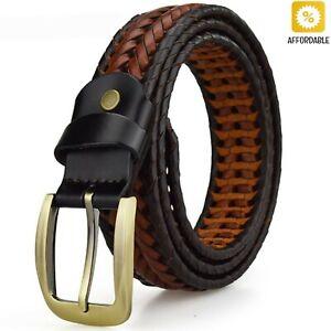 Men Women Woven Braided Genuine Leather Waist Belt Waistband 110-120cm Soft Long