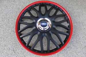 4 Alu-Design Radkappen 16 Zoll Orden black roter Rand  für Ford