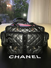 Auth CHANEL Black CAMBON Line Multi Pockets Quilted Tote Shopper Bag
