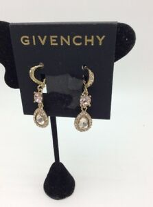 Image Is Loading 48 Givenchy Drop Chocolate Crystal Double Earrings