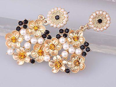 Fashion  design women  bib statement mixed crystal Flower Dangle  Earrings 951