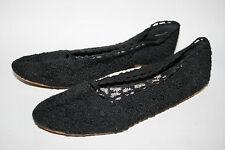 H&M Fashion Designer Ladies Womans Ballerinas Flats Black Embroidered Size 37