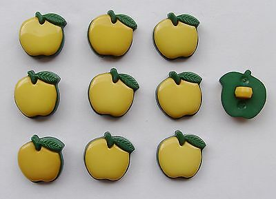 10  APPLE Shaped BUTTONS  YELLOW
