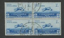 Block of 4 1934 Italy Plane Attacking Troops Air Mail Postage Stamp #C71 CV $160