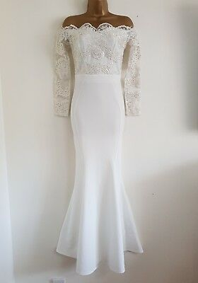 Ehrlichkeit New D*benh*ms 6-16 White Lace Sequin Bardot Off Shoulder Bridal Wedding Dress