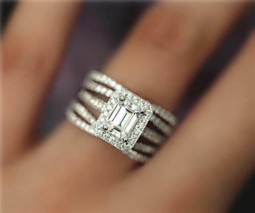 4CT Emerald-Cut Diamond Halo Bridal Set Engagement Ring 14K White gold Finish
