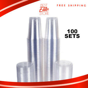 Image Is Loading Plastic Cups With Lids 16 Oz Clear Reusable
