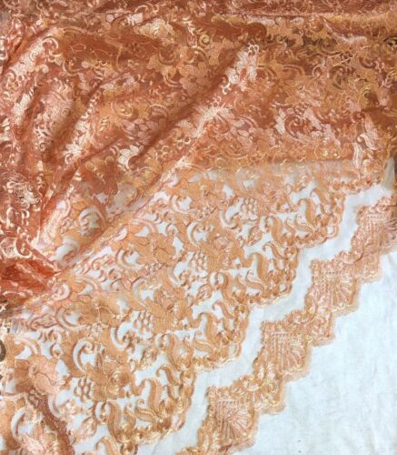 """1 X Meter Peach Emboided Double Scalloped Bridal Lace Fabric Tulle Net 58/""""Wide"""