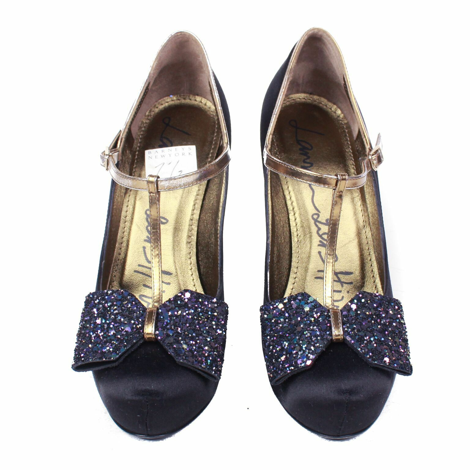 Lanvin - New - Crystal Bow Black Satin Heels - gold Straps US 7.5 - 37.5