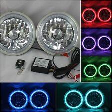 "97-16 Jeep Wrangler TJ JK 7"" RGB MULTI COLOR LED SMD Halo Round Headlights"