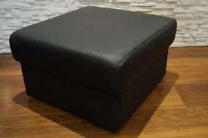 Schwarz echtleder hocker mit stauraum sitzhocker sitzwürfel