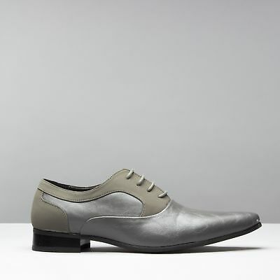 Mister Carlo TORINO Mens Formal Pointed Faux Suede//Leather Dress Shoes Grey