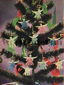 image is loading vintage crochet pattern instructions to make christmas angels - Crochet Angel Christmas Tree Decorations