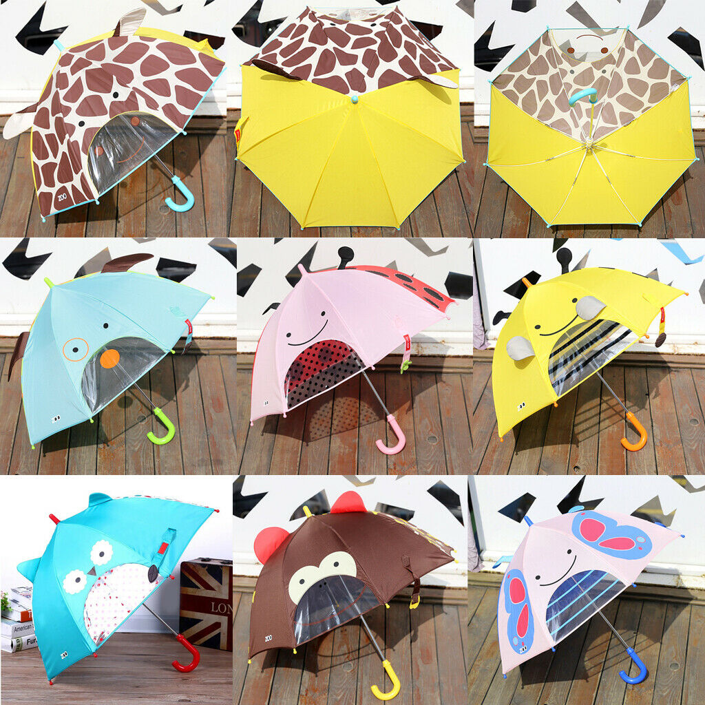 Cartoon Umbrella for Sun/Rain Protection School Students Long Handle Umbrella
