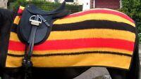 Newmarket Red Black Gold Stripe Lightweight Fleece Exercise Sheet Rug Riding