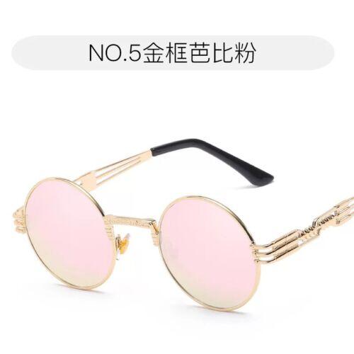 Vintage Polarized Steampunk Sunglasses Goggles Round Mirrored Retro Punk Glasses