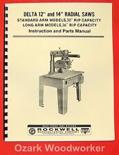 Delta Rockwell 12 Amp 14 Radial Arm Saw Instructions Amp Parts Manual 0229