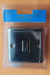 Genuine Deta 2903CHB Polished Chrome 10AX 1G 2 way switch Black Inserts