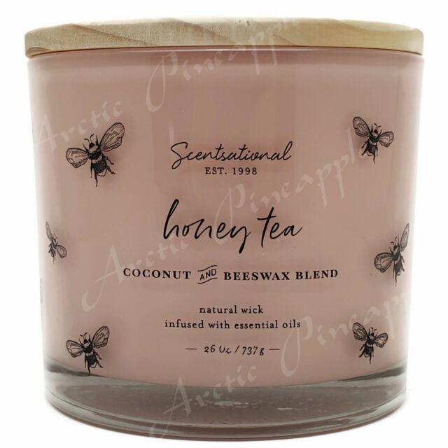 Scentsational 26oz Coconut Beewax Blend 100% Cotton 3 Wick Candle Honey Tea