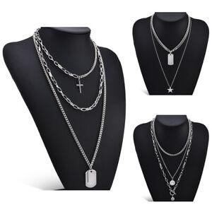 Fashion-Women-Boho-Multi-Layer-Choker-Pendant-Stainless-Chain-Necklace-Jewellery